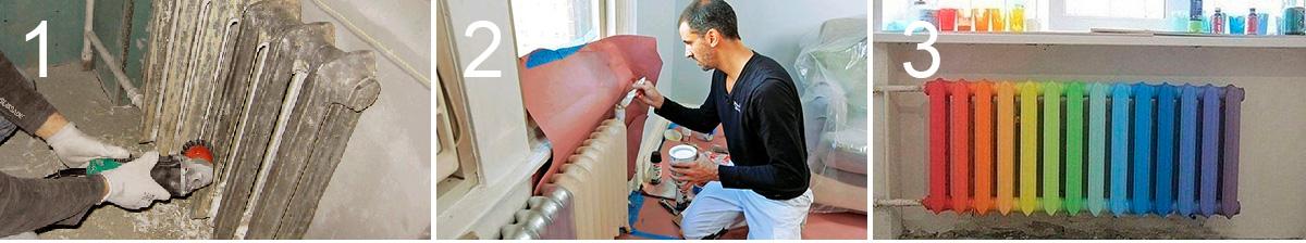 Процесс реставрации чугунной батареи