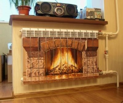 Рисунок камина на радиаторе отопления