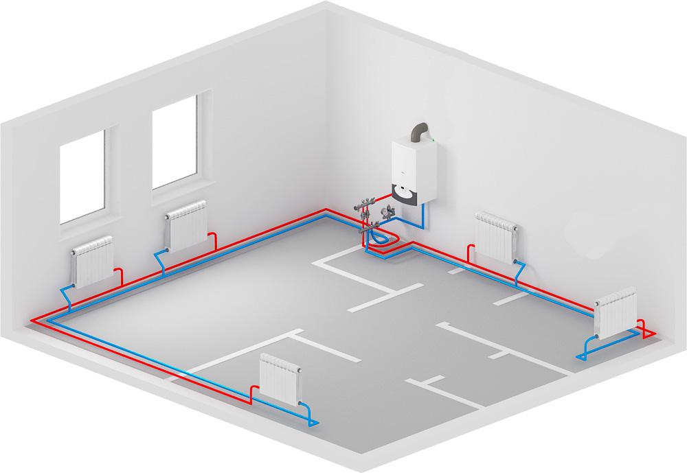 Двухтрубное отопление частного дома своими руками схема фото 220