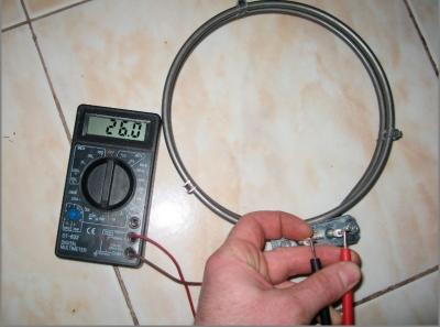 Проверка сопротивления ТЭНа конвектора